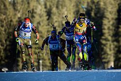 Benedikt Doll (GER), Martin Fourcade (FRA)  during Men 15 km Mass Start at day 4 of IBU Biathlon World Cup 2015/16 Pokljuka, on December 20, 2015 in Rudno polje, Pokljuka, Slovenia. Photo by Vid Ponikvar / Sportida