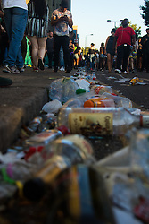 London, August 29th 2016. Litter in the gutter following day two of Europe's biggest street party, the Notting Hill Carnival.