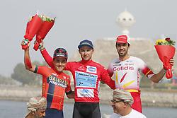 February 21, 2019 - Matrah Corniche, OMAN - Italian Domenico Pozzovivo of Bahrain-Merida, Kazakh Alexey Lutsenko of Astana Pro Team and Spanish Jesus Herrada Lopez of Cofidis celebrate on the podium of the sixth stage of the Oman cycling Tour 2019, 135,5 km from Al Mouj Muscat to Matrah Corniche, Oman, Thursday 21 February 2019. This years Tour of Oman is taking place from 16 to 21 February...BELGA PHOTO YUZURU SUNADA FRANCE OUT (Credit Image: © Yuzuru Sunada/Belga via ZUMA Press)