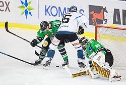 25.01.2015, Hala Tivoli, Ljubljana, SLO, EBEL, HDD Telemach Olimpija Ljubljana vs EHC Liwest Linz, 43. Runde, in picture Rok Leber (HDD Telemach Olimpija, #18), Matthias Iberer (EHC Liwest Linz, #15) and Tomaz Trelc (HDD Telemach Olimpija, #95 during the Erste Bank Icehockey League 43. Round between HDD Telemach Olimpija Ljubljana and EHC Liwest Linz at the Hala Tivoli, Ljubljana, Slovenia on 2015/01/25. Photo by Vid Ponikvar / Sportida
