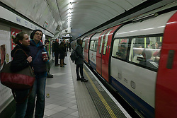 © Licensed to London News Pictures. 08/01/2013, London, UK. A train arrives at Bank underground station in London, Tuesday, Jan. 8, 2013. London Underground mark its 150 year anniversary on 9 January. In 1863 January 9 the world first underground train entered into public service. Photo credit : Sang Tan/LNP