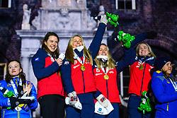 March 16, 2019 - –Stersund, Sweden - 190316 Synnøve Solemdal, Ingrid Landmark Tandrevold, Tiril Eckhoff, Marte Olsbu Røiseland of Norway celebrate during the medal ceremony for the Women's 4x6 km Relay during the IBU World Championships Biathlon on March 16, 2019 in Östersund..Photo: Petter Arvidson / BILDBYRÃ…N / kod PA / 92270 (Credit Image: © Petter Arvidson/Bildbyran via ZUMA Press)