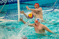 Eelco Wagenaar, Jesse Koopman of the Netherlands in action against Romania during the Olympic qualifying tournament. The Dutch water polo players are on the hunt for a starting ticket for the Olympic Games on February 16, 2021 in Rotterdam