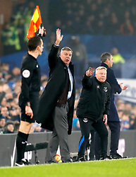Everton manager Sam Allardyce (left) gestures on the touchline alongside his assistant Sammy Lee during the Premier League match at Goodison Park, Liverpool.