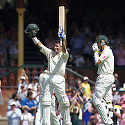 Michael Hussey celebrates his century during the Australia V Pakistan 2nd Cricket Test match at the Sydney Cricket Ground, Sydney, Australia, 6 January 2010. Photo Tim Clayton