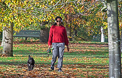 © Licensed to London News Pictures. 10/11/2020.  <br /> Greenwich, UK. A dog walker enjoying the warm weather. Mild autumnal weather today in Greenwich Park, Greenwich, London as people get out of the house from Coronavirus lockdown to exercise. Photo credit:Grant Falvey/LNP