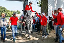 RIESENBECK - FEI Jumping European Championship Riesenbeck 2021<br /> <br /> FUCHS Martin (SUI), Leone Jei<br /> Impressionen vom Abreiteplatz<br /> Second Qualifying Competition - Round 2 <br /> Team Final<br /> <br /> Hörstel-Riesenbeck, Reitanlage Riesenbeck International<br /> 03. September 2021<br /> © www.sportfotos-lafrentz.de/Dirk Caremans