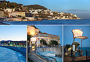 Editorial Travel Photography: Panorama of Nice and details of Nice and Castel beach at dusk, Nice, French Riviera, Cote d'azur, France
