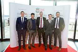 LIVERPOOL, ENGLAND - Thursday, May 12, 2016: Liverpool Ladies manager Scott Rogers [2nd from right] with staff Jordan Whelan, Alan Jordan, xxxx and Joe Potts arrives on the red carpet for the Liverpool FC Players' Awards Dinner 2016 at the Liverpool Arena. (Pic by David Rawcliffe/Propaganda)