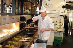 Willie Rennie, St Andrews, 24-4-2017<br /> <br /> Willie Rennie learns how to make fish and chips at Cromars in St Andrews<br /> <br /> (c) David Wardle | Edinburgh Elite media
