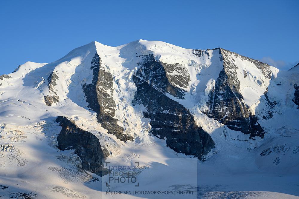 Der Piz Palü und der Persgletscher am Abend; Pontresina, Graubünden, Schweiz / <br /> <br />  The Piz Palü and the Pers glacier; Pontresina, Graubünden, Switzerland