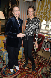 Left to right, AMY WILLIAMS and JACQUETTA WHEELER at a ladies lunch hosted by Katie Readman for sisters Lucia & Rosie Ruck Keene founders of a new fashion label - Troy, held at 5 Hertford Street, London on 27th January 2015.