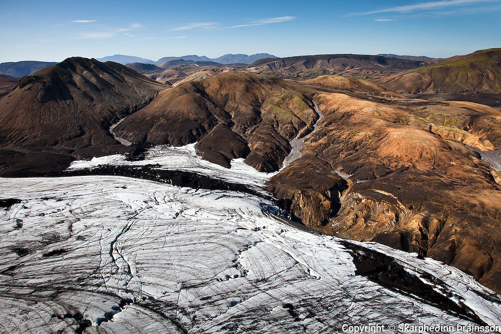 Arial view of the glacier and geothermal area from Þórsmörk to Landmannalaugar, highlands of Iceland