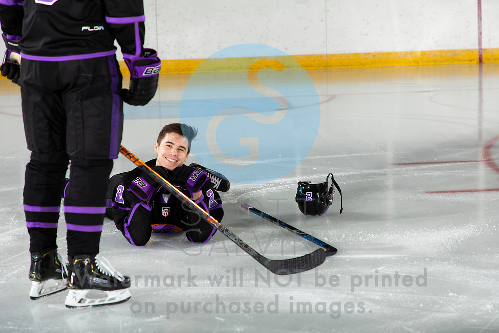 Youngstown Phantoms player photo shoot at the Covelli Centre on April 2, 2019.<br /> <br /> Aiden Gallacher, defenseman, 2