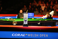 The new Ray Reardon trophy for the winner is seen during the match. Coral Welsh Open Snooker 2017, final match, Judd Trump of England v Stuart Bingham of England at the Motorpoint Arena in Cardiff, South Wales on Sunday 19th February 2017.<br /> pic by Andrew Orchard, Andrew Orchard sports photography.