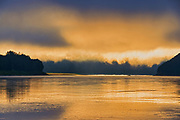 Morning fog on the Peace River <br />Dunvegan<br />Alberta<br />Canada