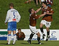 Fotball - 1. divisjon - Ørn Horten - FK Haugesund 4-1. Ørn Horten jubler. Ardian Gashi jubler etter sin 3-0 scoring. Her jubler han sammen med Even Eide Eriksen (t.v.)<br /> <br /> <br /> Foto: Andreas Fadum