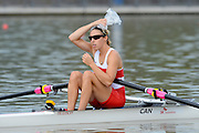 Chungju, South Korea. Sunday Heats, CAN. LW1X. Patricia OBEE. moves away from the start on the opening day of the 2013 FISA World Rowing Championships, Tangeum Lake International Regatta Course. 10:33:56  Sunday  25/08/2013 [Mandatory Credit. Peter Spurrier/Intersport Images]