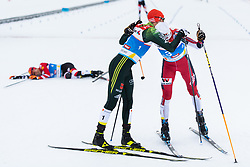 February 22, 2019 - Seefeld In Tirol, AUSTRIA - 190222 Eric Frenzel of Germany and Jan Schmid of Norway celebrate after competing in men's nordic combined 10 km Individual Gundersen during the FIS Nordic World Ski Championships on February 22, 2019 in Seefeld in Tirol..Photo: Joel Marklund / BILDBYRÃ…N / kod JM / 87882 (Credit Image: © Joel Marklund/Bildbyran via ZUMA Press)