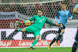 November 10, 2017 - Warsaw, Poland - Lukasz Fabianski (POL), Matias Vecino (URU)  in action during the international friendly match between Poland and Uruguay at National Stadium on November 10, 2017 in Warsaw, Poland. (Credit Image: © Foto Olimpik/NurPhoto via ZUMA Press)