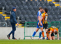 Bristol Rovers' Luke Leahy and George Honeyman square up to each other with Bristol Rovers manager Joey Barton looking on<br /> <br /> Photographer Lee Parker/CameraSport<br /> <br /> The EFL Sky Bet League One - Hull City v Bristol Rovers - Saturday 6th March 2021 - KCOM Stadium - Kingston upon Hull<br /> <br /> World Copyright © 2021 CameraSport. All rights reserved. 43 Linden Ave. Countesthorpe. Leicester. England. LE8 5PG - Tel: +44 (0) 116 277 4147 - admin@camerasport.com - www.camerasport.com