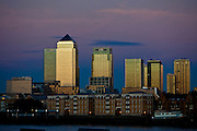 A view from across the River Thames towards, Canary Wharf and the Isle of Dogs.