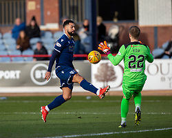 Dundee's Kane Hemmings and Partick Thistle's keeper Scott Fox. Dundee 2 v 0 Partick Thistle, Scottish Championship game played 8/2/2020 at Dundee stadium Dens Park.