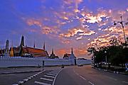 Exterior of a Buddhist temple at sun set Thailand, Bangkok,