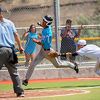 072213        Brian Leddy<br /> Gallup All-Star Anthony Montoya (12) tags out Atrisco All-Star Dominic Rivera (43) during a run down at home plate Monday at Ford Canyon Park.