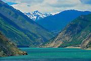 Seton Lake and mountains (Chilcotin Ranges).  Interior Plateau. <br /> Lillooet<br /> British Columbia<br /> Canada
