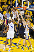 Golden State Warriors forward David West (3) blocks Utah Jazz forward Joe Ingles (2) shot from behind during Game 2 of the Western Conference Semifinals at Oracle Arena in Oakland, Calif., on May 4, 2017. (Stan Olszewski/Special to S.F. Examiner)