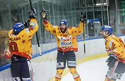 Marchetti Michele of Asiago celebrates after scoring second goal for Asiago during first leg Ice Hockey game between HK SZ Olimpija Ljubljana and Asiago Hockey in Final of Alps Hockey League 2020/21, on April 20, 2021 in Hala Tivoli, Ljubljana, Slovenia. Photo by Vid Ponikvar / Sportida