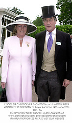LT.COL.SIR CHRISTOPHER THOMPSON and the DOWAGER VISCOUNTESS PORTMAN at Royal Ascot on 19th June 2001. OPN 86