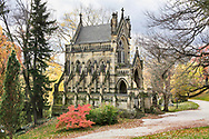 A Mausoleum Modeled After A Gothic Cathedral In A Beautiful Arboretum / Cemetery Setting During Autumn, Southwestern Ohio, USA