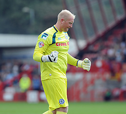 Rochdale's Conrad Logan celebrates his side going 1-0 up - photo mandatory by-line David Purday JMP- Tel: Mobile 07966 386802 - 06/09/14 - Crawley Town v Rochdale - SPORT - FOOTBALL - Sky Bet Leauge 1 - London - Checkatrade.com Stadium