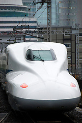 Japanese shinkansen high speed train in Tokyo Japan