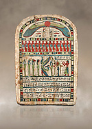 Ancient Egyptian stele dedicated to Re-Harakhty by Irtiertjay,  Late Period, 25th Dynasty, (7620-580 BC), Thebes, Cat 1530. Egyptian Museum, Turin. <br /> <br /> The round topped stele dedicated by Irtiertjay to Re-Harakhty , Isis and the 4 sons of Horus. Gifted by the Cairo Museum .<br /> <br /> If you prefer to buy from our ALAMY PHOTO LIBRARY  Collection visit : https://www.alamy.com/portfolio/paul-williams-funkystock/ancient-egyptian-art-artefacts.html  . Type -   Turin   - into the LOWER SEARCH WITHIN GALLERY box. Refine search by adding background colour, subject etc<br /> <br /> Visit our ANCIENT WORLD PHOTO COLLECTIONS for more photos to download or buy as wall art prints https://funkystock.photoshelter.com/gallery-collection/Ancient-World-Art-Antiquities-Historic-Sites-Pictures-Images-of/C00006u26yqSkDOM