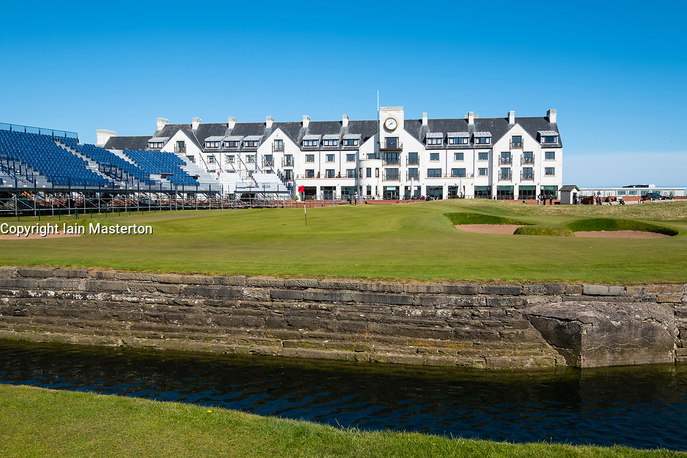 View of Carnoustie Golf Course Hotel behind 18th Green with Barry Burn in foreground at Carnoustie Golf Links in Carnoustie, Angus, Scotland, UK. Carnoustie is venue for the 147th Open Championship in 2018. Stand around green under construction.