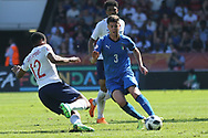 Vontae Daley-Campbell of England (12) tackles Giorgio Brogni of Italy (3) during the UEFA European Under 17 Championship 2018 match between England and Italy at the Banks's Stadium, Walsall, England on 7 May 2018. Picture by Mick Haynes.