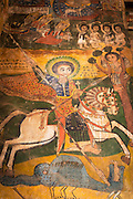 17th century Wall painting in the Church of Abraha We Atsebeha. Ethiopia, Horn of Africa