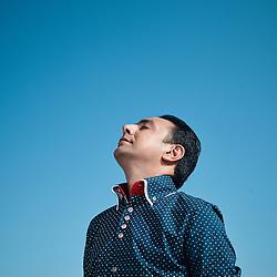 Cannes, France. July 14, 2015. Emil Afrasiyab,  a modern jazz piano player from Azerbaijan, near the beach. Photo: Antoine Doyen