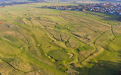 Aerial view of late winter light over Muirfield Golf course in Gullane, East Lothian, Scotland, UK