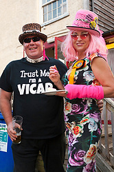 © Licensed to London News Pictures. 01/08/2019. Builth Wells, Powys, UK. Lady Lily The Pink, candidate for the Monster Raving Loony, and her supporters and members of the MRLP at the 'Byelection Victory Party MRLP' in the Barley Mow pub, Builth Wells in Powys, Wales, UK. before the start of the vote counting.<br /> The by-election has been recalled because the incumbent Tory MP. Chris Davies, who has been convicted for faking expenses claims, has been booted from the seat after a recall petition was passed when more than 10,000 voters backed the move. <br /> Candidates for the by-election are: Brexit Party - Des Parkinson. Conservative - Christopher Davies. Labour - Tom Davies. Liberal Democrats - Jane Dodds. Monster Raving Loony - Lady Lily the Pink. UKIP - Liz Phillips. Photo credit: Graham M. Lawrence/LNP