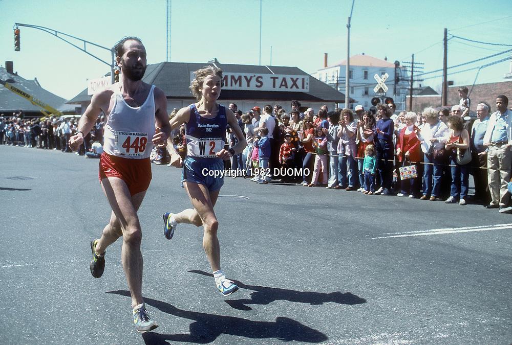 Charlotte Teske (GER) competing in  the 1982 Boston Marathon