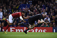 Brodie Retallick of New Zealand scores his teams 1st try. Rugby World Cup 2015 quarter-final match, New Zealand v France at the Millennium Stadium in Cardiff, South Wales  on Saturday 17th October 2015.<br /> pic by  Andrew Orchard, Andrew Orchard sports photography.