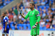 David Marshall, the Cardiff city goalkeeper looks on.EFL Skybet championship match, Cardiff city v Queens Park Rangers at the Cardiff city stadium in Cardiff, South Wales on Sunday 14th August 2016.<br /> pic by Andrew Orchard, Andrew Orchard sports photography.