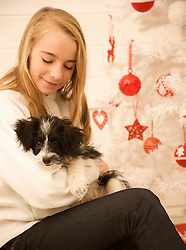 Young girl sitting by a Christmas tree holding a puppy