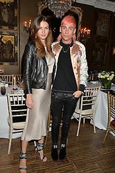 LYZA ONYSKO and KYLE DE'VOLLE at a dinner for JF London x Kyle DeVolle held at Beach Blanket Babylon, Ledbury Road, London on 29th September 2016.