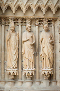 Bas-relief sculptures on Cathedral of Notre-Dame in Reims, France