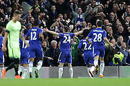 Gary Cahill of Chelsea celebrates after he scores his sides 3rd goal to make it 3-1. The Emirates FA Cup, 5th round match, Chelsea v Manchester city at Stamford Bridge in London on Sunday 21st Feb 2016.<br /> pic by John Patrick Fletcher, Andrew Orchard sports photography.
